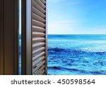 open window   view of sea | Shutterstock . vector #450598564