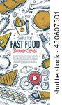 banner with fast food hand... | Shutterstock .eps vector #450607501