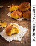 homemade pumpkin bread buns....   Shutterstock . vector #450610654