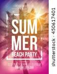 summer beach party vector flyer ... | Shutterstock .eps vector #450617401