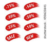 red paint sale discount labels... | Shutterstock .eps vector #450623641