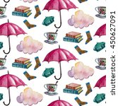 watercolor pattern with pink... | Shutterstock . vector #450627091