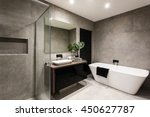 modern bathroom with a shower... | Shutterstock . vector #450627787