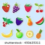 cute cartoon fruit sticker set  ... | Shutterstock .eps vector #450635311