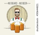 hipster bartender with beer... | Shutterstock .eps vector #450644821