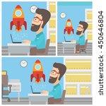 a hipster businessman sitting... | Shutterstock .eps vector #450646804