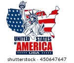 statue of liberty  usa map  ... | Shutterstock .eps vector #450647647