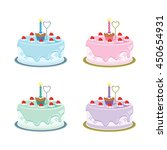 first birthday cakes. vector... | Shutterstock .eps vector #450654931