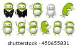 set of green robots posing in... | Shutterstock .eps vector #450655831