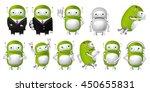 set of green robots posing in... | Shutterstock .eps vector #450655831