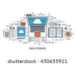 cloud computing flat outline...   Shutterstock .eps vector #450655921