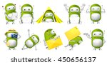 set of green robots working on... | Shutterstock .eps vector #450656137