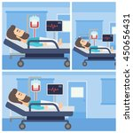 young man lying in bed at... | Shutterstock .eps vector #450656431