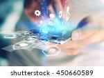businessman using mobile smart... | Shutterstock . vector #450660589