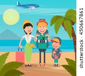 happy family on tropical... | Shutterstock .eps vector #450667861