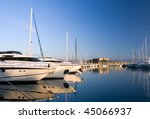 yachts in antibes with fortress ... | Shutterstock . vector #45066937