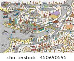 winter doodle town. map drawn... | Shutterstock .eps vector #450690595