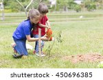 portrait of happy girl and boy... | Shutterstock . vector #450696385