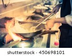 blurred chef of a restaurant... | Shutterstock . vector #450698101