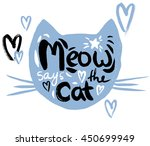 cat face silhouette with... | Shutterstock . vector #450699949
