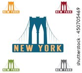 brooklyn bridge in new york... | Shutterstock .eps vector #450705469