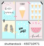 summer cute artistic cards ...   Shutterstock .eps vector #450710971