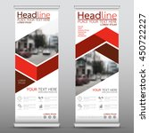 red roll up business banner...   Shutterstock .eps vector #450722227
