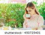 business woman is working and... | Shutterstock . vector #450725401