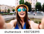young girl take selfie from... | Shutterstock . vector #450728395