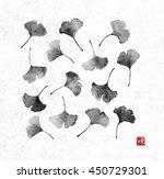 gingko leaves on on rice paper... | Shutterstock .eps vector #450729301