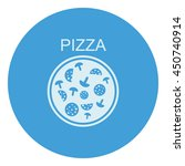 pizza with salami and mushrooms.... | Shutterstock .eps vector #450740914