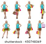 woman with shopping bags... | Shutterstock . vector #450748369