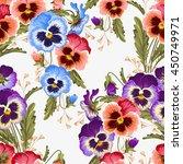 seamless varicolored pansies | Shutterstock .eps vector #450749971