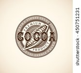 vintage cocoa label with ink... | Shutterstock .eps vector #450751231