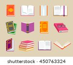 colorful books icons set ... | Shutterstock .eps vector #450763324