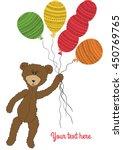 Cartoon Cute Teddy Bear Holdin...