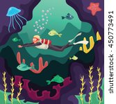 scuba diver swimming under... | Shutterstock .eps vector #450773491