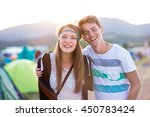 beautiful young couple at... | Shutterstock . vector #450783424