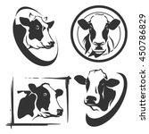 Stock vector cow head labels set 450786829