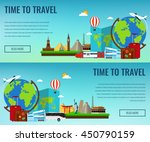 travel composition with famous... | Shutterstock .eps vector #450790159