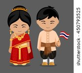 thais in national dress with a... | Shutterstock .eps vector #450793525