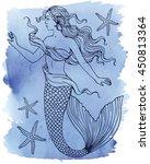 beautiful mermaid outline...   Shutterstock .eps vector #450813364