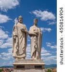 Small photo of VESZPREM, HUNGARY - JUNE 7, 2016: Statues of King Stephen I of Hungary and Gisela of Bavaria, artwork by sculptor Jozsef Ispanki, created in 1938, located at Castle Hill of Veszprem town.