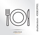 line icon  plate  knife and fork | Shutterstock .eps vector #450819901