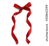 red bow with curved ribbons.... | Shutterstock .eps vector #450842599