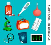 vector set of medical icons and ...   Shutterstock .eps vector #450843049