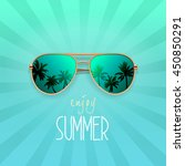 modern sunglasses with palms... | Shutterstock .eps vector #450850291