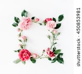 Stock photo round frame wreath pattern with roses pink flower buds branches and leaves isolated on white 450853981