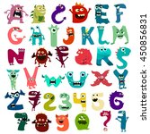monster funny cut alphabet with ... | Shutterstock .eps vector #450856831