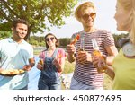 joyful guys and girls enjoying... | Shutterstock . vector #450872695